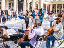 Members of the Marais Performers string ensemble play outside Co Stock Image