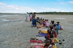 Members of Masai Community selling their wares at Lake Magadi, Rift Valley, Kenya royalty free stock images