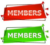Members sign. Members modern 3d sign isolated on white background,color red and green Stock Photos