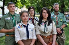Members of the National Scout Organization of Ukraine Plast Royalty Free Stock Photos