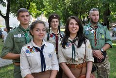 Members of the National Scout Organization of Ukraine Plast Stock Photos