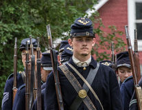 Members of the 72nd New York. Graeagle. California, United States-July 4, 2015: Members of the 72nd New York Civil War reenactors group march in formation Royalty Free Stock Images