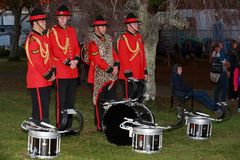 Members of the New Zealand Army Band, drum section stock photos