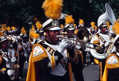 High school marching band stock image