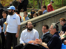 The Members of Parliament Mark Adler and James Pasternak. At the celebration of Lag Ba'Omer in May 18, 2014 in Toronto, Canada Royalty Free Stock Photo