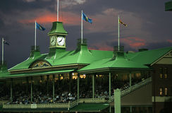 Members Pavilion. Partial view of members' pavilion of the Sydney Cricket Ground in evening light aided by floodlight Royalty Free Stock Photo