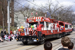 Members of Rameses Shriners on float at the Beaches Easter Parade 2017 on Queen Street East Toronto.  Stock Photo