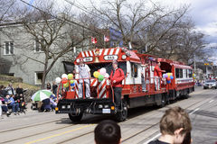 Members of Rameses Shriners on float at the Beaches Easter Parade 2017 on Queen Street East Toronto stock image
