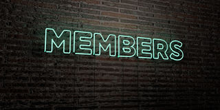 MEMBERS -Realistic Neon Sign on Brick Wall background - 3D rendered royalty free stock image Stock Photo