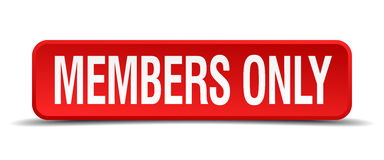 Members only red 3d square button isolated Royalty Free Stock Photography