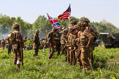 Members of Red Star history club wear historical American uniforms during historical reenactment of WWII Stock Image