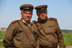 Members of Red Star history club wear historical Soviet uniform during historical reenactment of WWII Royalty Free Stock Photography