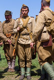 Members of Red Star history club wear historical Soviet uniform during historical reenactment of WWII Royalty Free Stock Images