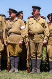 Members of Red Star history club wear historical Soviet uniform during historical reenactment of WWII Royalty Free Stock Photo