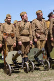 Members of Red Star history club wear historical Soviet uniform during historical reenactment of WWII Royalty Free Stock Image