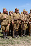 Members of Red Star history club wear historical Soviet uniform during historical reenactment of WWII Royalty Free Stock Photos