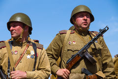 Members of Red Star history club wear historical Soviet uniform during historical reenactment of WWII Stock Photo
