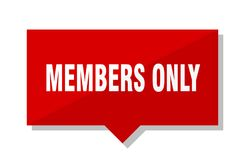 Members only red tag. Members only red square price tag Stock Image
