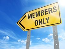 Members only sign. On blue sky background,3d rendered Stock Image
