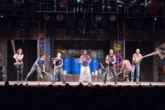 Members of the STOMP perform on stage. At Budapest Royalty Free Stock Photography