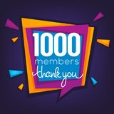 1000 members , thank you banner, confetti and lettering composit. Ion Stock Illustration