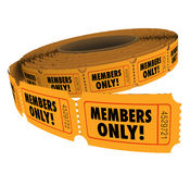 Members Only Ticket Roll Exclusive VIP Group Access Event Passes Stock Photos