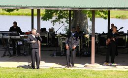 Members of the U.S. Navy Band Perform at Navy Lake Royalty Free Stock Photo