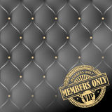 Members Only, VIP theme. Grunge rubber stamp with the words Members Only, VIP inside, on leather upholstery background Stock Photography