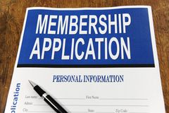 Membership application form on a desk Stock Photo