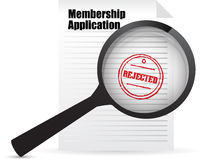 Membership application rejected and magnifier Stock Images