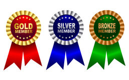 Membership award ribbon rosette. Gold , silver and bronze membership award ribbon rosette in red blue green colors isolated on white background royalty free illustration