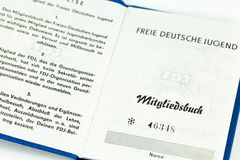 Membership card of the Free German Youth stock images