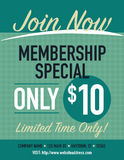 Membership. Join now membership special poster, only $10 vector illustration