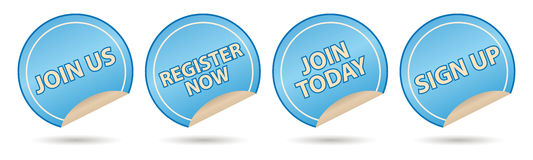 Membership labels. Join us, register, join today and sign up royalty free illustration
