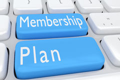 Membership Plan concept. 3D illustration of computer keyboard with the script Membership Plan on two adjacent pale blue buttons Stock Images