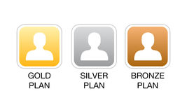 Membership plan web icons. Vector illustration of web site icons for different levels of subscription, from the basic bronze plan to the premium membership as Royalty Free Stock Photo