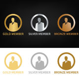 Gold member, silver member, bronze member, bronze to gold. Icons for the level of membership, the first gold, second in silver, and three: bronze. Membership Stock Photo
