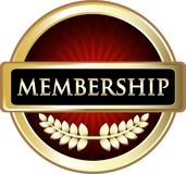 Membership Red Label Emblem Icon. Membership red and gold label emblem with a laurel wreath vector illustration