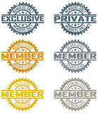 Membership Stamps. Distressed rubber stamp style membership designs. Includes four levels and exclusive and private designs vector illustration