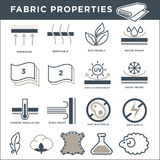 Fabric properties signs monochrome  minimalistic illustrations set. Membrane or breathable textile, eco-friendly product, proof from precipitation , anti Royalty Free Stock Photo