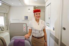 Membre d'équipage d'Airbus A380 d'émirats Photos stock