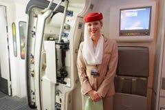 Membre d'équipage d'Airbus A380 d'émirats Photos libres de droits