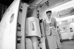 Membre d'équipage d'Airbus A380 d'émirats Images stock