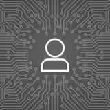 Membre d'icône d'utilisateur au-dessus d'ordinateur Chip Moterboard Background Banner Image stock