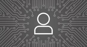 Membre d'icône d'utilisateur au-dessus d'ordinateur Chip Moterboard Background Banner Photo libre de droits