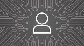 Membre d'icône d'utilisateur au-dessus d'ordinateur Chip Moterboard Background Banner Images libres de droits