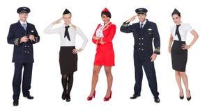 Membres d'équipage des aéronefs, pilotes, hôtesses Photographie stock