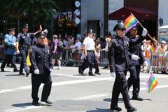 Membres de FDNY à LGBT Pride Parade à New York City Images libres de droits