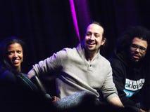 Membres de la distribution de Broadway Hamilton musical sur le panneau Image libre de droits