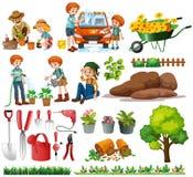 Membres de la famille faisant des corvées et le jardinage illustration de vecteur